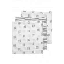 Meyco Πολυχρηστικές Μουσελίνες 3τμχ 70x70 cm Block Stripe Grey