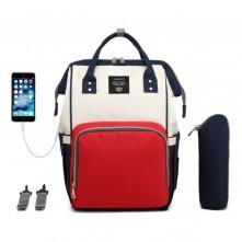Τσάντα αλλαξιέρα μωρού κόκκινη-μπλε-μπεζ με usb Lequeen