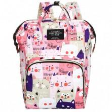 Τσάντα μωρού πλάτης ροζ με γατούλες L.T.S.