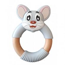 Μασητικό οδοντοφυΐας ποντικάκι γκρι με σιλικόνη και ξύλο 3+ μηνών