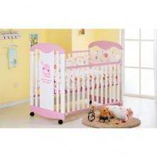 Κούνια μωρού ξύλινη ροζ