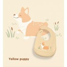 Σαλιάρα σιλικόνης κίτρινη σκυλάκι