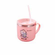 Ποτήρι ροζ 270 ml με καλαμάκι για παιδιά 6+ μηνών