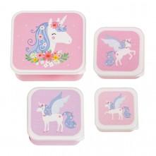 Σετ 4 δοχεία φαγητού Lunch & Snack Box Unicorn - A little lovely company