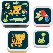 Σετ 4 δοχεία φαγητού Lunch & Snack Box Jungle Tiger - A little lovely company