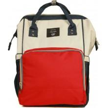 Τσάντα πλάτης μωρού QINDU μπλε-κόκκινο-μπεζ
