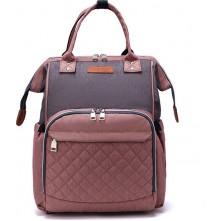 Τσάντα πλάτης μωρού LEQUEEN ροζ γκρι καπιτονέ