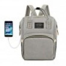 Τσάντα πλάτης μωρού γκρι ανοιχτό με USB LTS