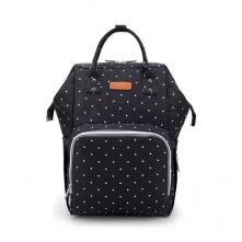 Τσάντα  μωρού πλάτης Ankommling με usb μαύρη πουά