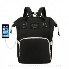 Τσάντα πλάτης μωρού με usb LTS μαύρη