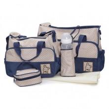 Σετ τσάντα αλλαξιέρα μωρού μπλε-μπεζ