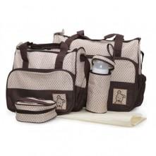 Σετ τσάντα αλλαξιέρα μωρού καφέ-μπεζ