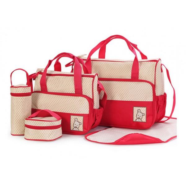 Σετ τσάντα μωρού κόκκινο-μπεζ