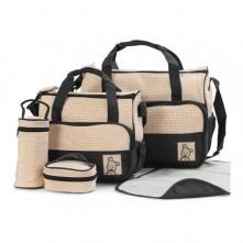 Σετ τσάντα αλλαξιέρα μωρού μαύρο-μπεζ